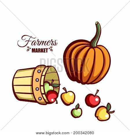 Farmers market. Local food. Basket of fresh apples and pumpkin isolated on white background. Hand drawn vector illustration