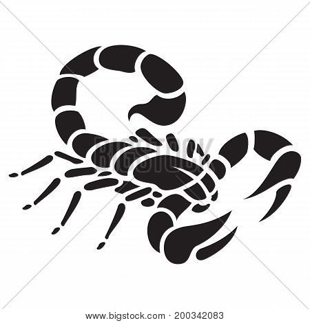Scorpio tattoo isolated on white vector illustration