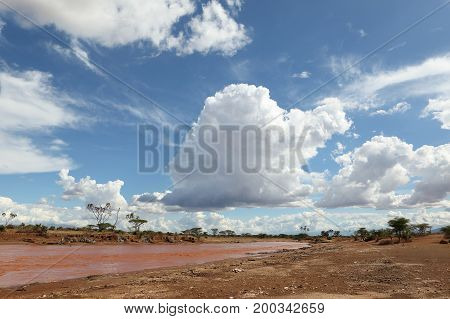 The Samburu River in Kenya in Africa