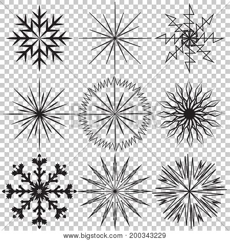 Snowflake vector icon set on transparent background. Vector