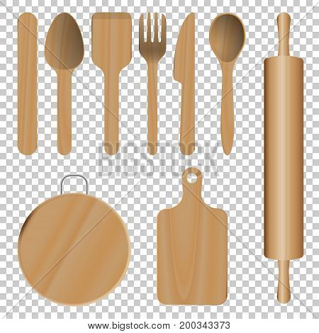 Wooden Kitchen Utensils isolated on transparent background
