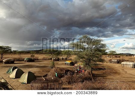 Camping adventure in a Samburu village in Africa