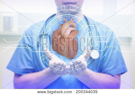 heart in hand men doctor stetoscope on the neck selective focus hands