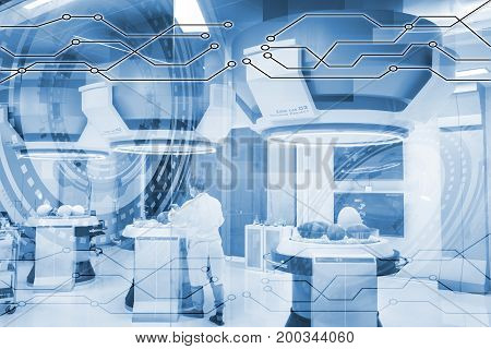 a man in labaratory and egg dinosaur concept healthcare technology