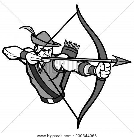 A vector illustration of a Archer mascot.