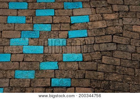 Blue And Brown Brick Wall Texture Background