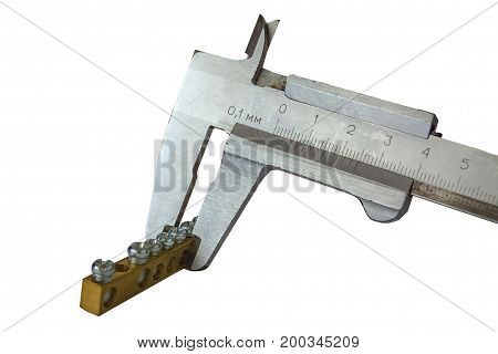 Vernier caliper measures the Size of the plate with bolts isolated on white