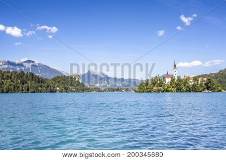 Bled Lake Landscape With Marienkirche And Castle Travel  Slovenia