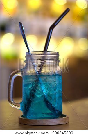 Cold Blue Cocktail Drink, Blue Hawaii Italian Soda