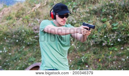 Policeman Professional Army Special Force Training Field Aiming And Shooting At The Enemy Criminal T