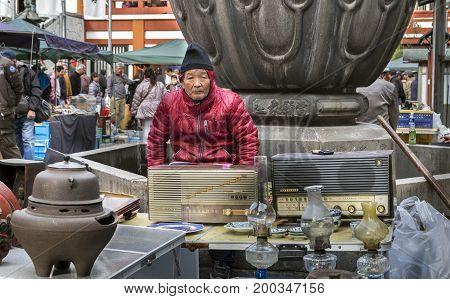 Seller On Flea Market At Osu Kannon Temple In Nagoya, Japan