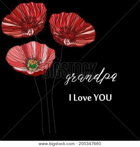 Happy grandparents day i love grandpa i love grandma hand drawn lettering vector illustration.