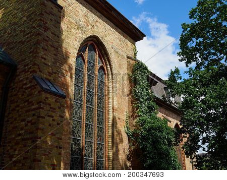 Landmark the famous St. Mary church in Flensburg Schleswig Holstein Germany