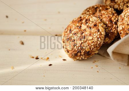 sweet homemade cookie with oat flakes wood table