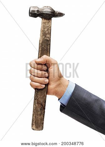Man's hand in a suit holds a hammer isolated on white background. Close up. High resolution product