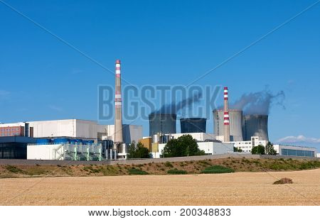 Nuclear Power Station, Cooling Towers Against Blue Sky