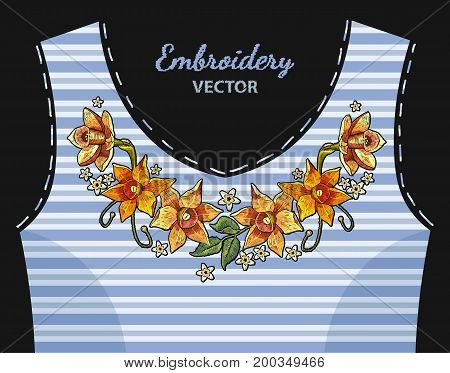 Embroidery colorful simplified ethnic neck line narcissus in blue stripes. Beautiful daffodils yellow narcissus embroideryl tropical flowers ornament fashion clothes t-shirt design