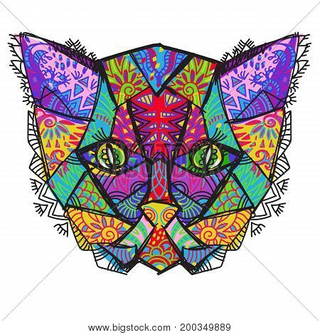 Hand drawn doodle outline cat head decorated with ornaments.Vector zen art illustration.Floral ornament.Sketch for tattoo or coloring pages.Boho style.