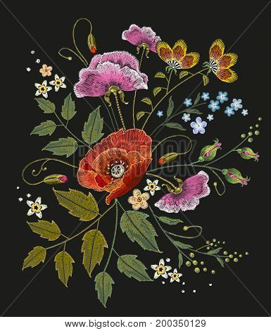 Flowers embroidery on black background. Decorative floral embroidery elegant flowers beautiful poppies. Beautiful bouquet of summer flowers t shirt design