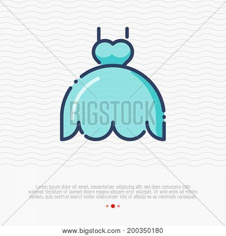 Wedding dress thin line icon. Vector illustration.