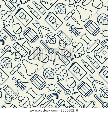 Wine bar seamless pattern for restaurant menu of natural alcohol drinks. Vector illustration with thin line icons related with wine making and winery.