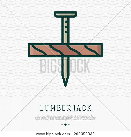 Nail is hammered in wooden board. Vector illustration of construction and repair.