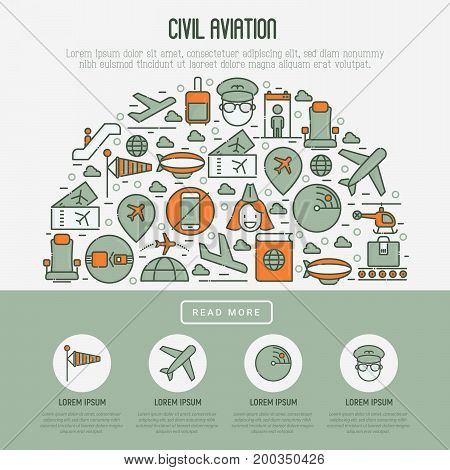 Civil aviation concept in half circle contains thin line icons related to airport and tourism. Vector illustration for banner, web page, print media.