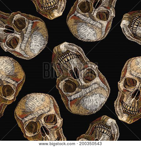 Embroidery human skulls seamless pattern. Gothic embroidery t-shirt design