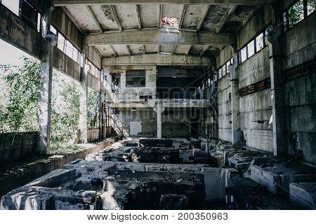 Abandoned factory, inside large workshop, abandoned warehouse, toned