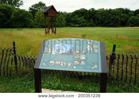 SHOREWOOD, ILLINOIS / UNITED STATES - JULY 15, 2016: The Forst Preserve District of Will County has built a bat condo to shelter bats in the Hammel Woods Forest Preserve.