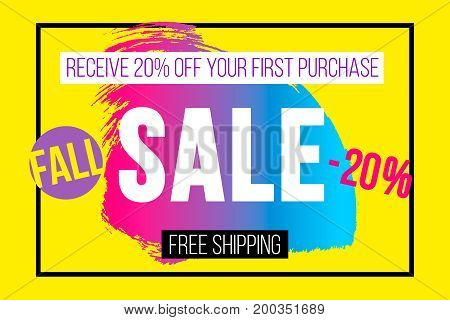 Autumn sale banner for online shopping with discount offer. Promotional email design poster. Fall 90s neon abstract background.