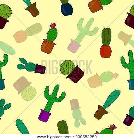 Seamless pattern with cute cactus on yellow background. Vector illustration