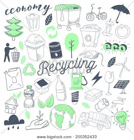 Ecology Alternative Energy Hand Drawn Doodle. Freehand Eco Recycle Elements Set. Vector illustration