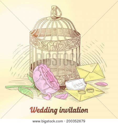 Vintage Style Wedding Invitation with Bird Cage, Rings and Flower. Romantic Greeting Card. Vector illustration