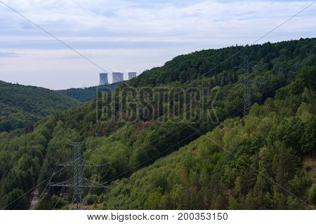 Valley of river Jihlava nuclear power plant Dukovany is in the background.