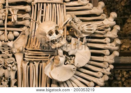 Close up detailed view of skulls in Sedlec Ossuary, Church of Bones in Kutna Hora, decorated with real human skeleton