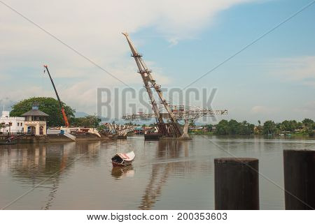 The Construction Of A New Bridge Across The River. Kuching, Sarawak. Malaysia. Borneo