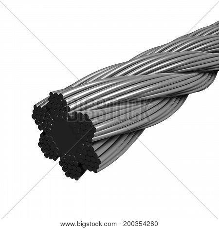 Bundle of steel wires 3d model render