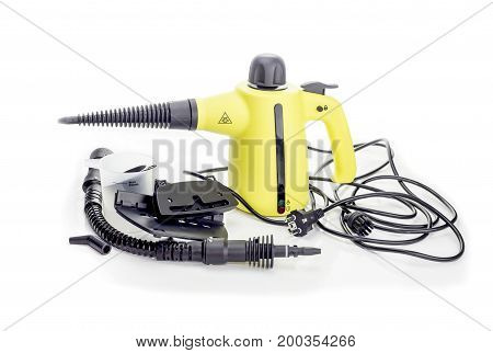 New Steam Cleaner with nozzles on a white background closeup
