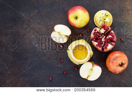 The Concept Of Rosh Hashanah (jewish New Year). Traditional Holiday Symbols - Honey, Apple And Pomeg