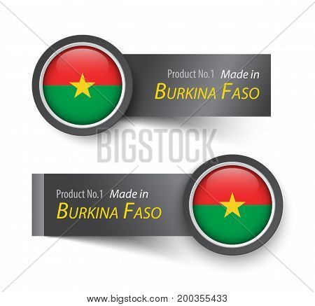 Flag Icon And Label With Text Made In Burkina Faso