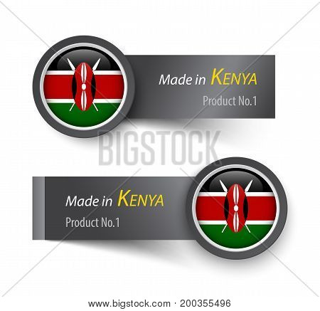 Flag Icon And Label With Text Made In Kenya