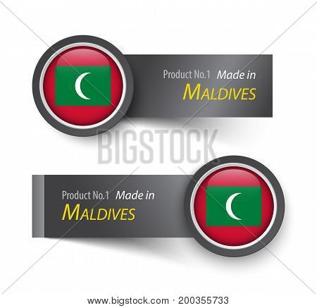 Flag Icon And Label With Text Made In Maldives