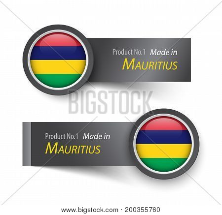 Flag Icon And Label With Text Made In Mauritius