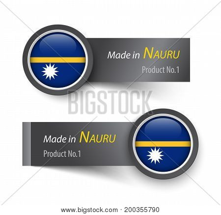 Flag Icon And Label With Text Made In Nauru