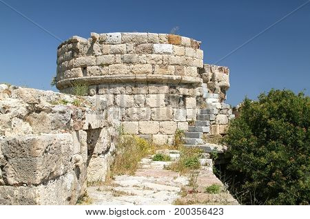 Observation site of the fortress of the knights-Ioannitov on the island of Kos. Greece