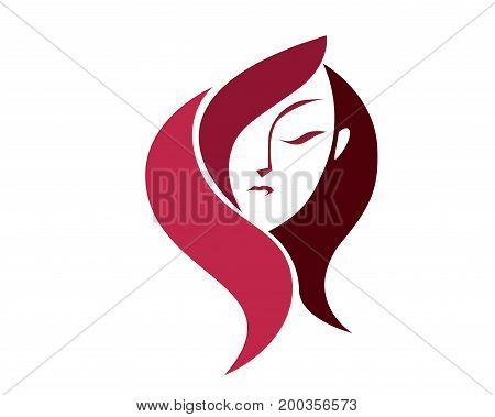 Beautiful Organic Female Face Silhouette Logo Symbol