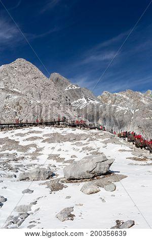 Jade Dragon Snow Mountain (Yulong Snow Mountain) located at Lijiang Yunnan China