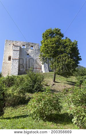 Ruins of 14th century Kazimierz Dolny Castle defensive fortification Poland.The building consists of a lower castle and a tower is a great tourist attraction