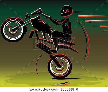 Motocross drivers silhouette. Motorbike motorcycle. Motorcycle racer sport. Vector illustration